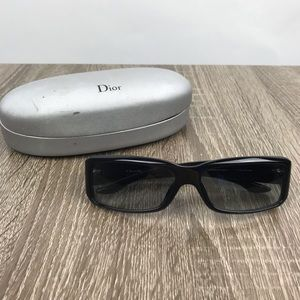 Christian Dior Black Logo Rhinestone Sunglasses